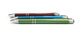 3x Design Kugelschreiber in grün, rot und blau mit jeweils witziger Gravur | Alle drei zusammen | Stiftset | Kugelschreiberset