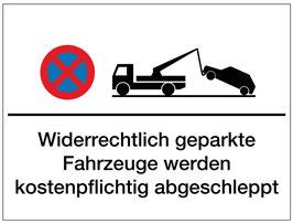 Verbotsschild Widerrechtlich geparkt | 30 x 40 cm (Nicht editierbar)
