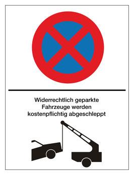 Verbotsschild Widerrechtlich geparkt | 40 x 30 cm (Nicht editierbar)