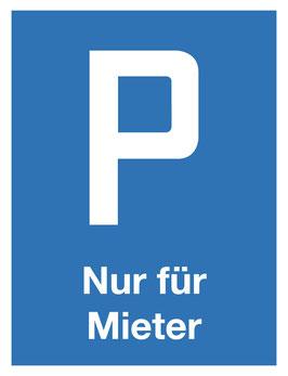 Parkplatzschild Nur Mieter | 40 x 30 cm (Nicht editierbar)