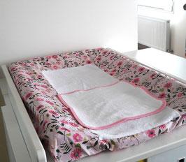 Housse pour matelas à langer coloris fleurs roses