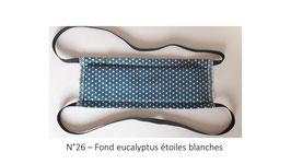 Masque lavable adulte N°26 Fond eucalyptus étoiles blanches
