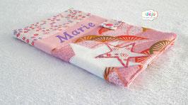 Protège-carnet rose étoile