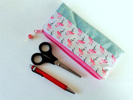 Stiftetasche, Faulenzer, Krammäppchen Flamingos, Handmade