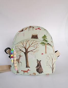 Kinder-Rucksack mit Waldtieren//Kindergartentasche mit Namenskette