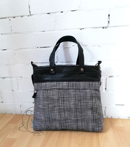 Handtasche Frühlingsliebe,  Baumwollstoff und schwarzes Kunstleder, Handmade