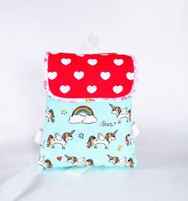 Kinderrucksack, Kindergartentasche Einhorn, helltürkis-rot, Handmade