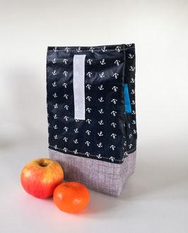 Lunchbag Anker, laminierte Baumwolle grau-blau, mit Lebensmittel geeignetem Innenfutter, Handmade