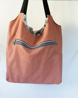 Shopper BigBag, Kinderwagentasche, Schultertasche, Kunstleder rose, Handarbeit