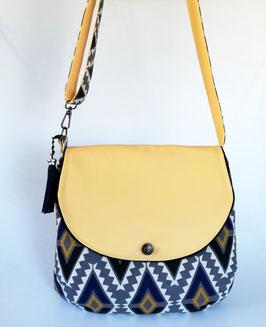 Beuteltasche Bohania, Baumwolle und Kunstleder grau-blau-gelb, Unikat, Handmade