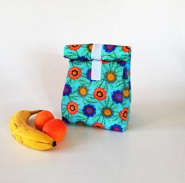 Lunchbag Magariten, beschichtete Baumwolle türkis-bunt, mit Lebensmittel geeignetem Innenfutter, Geschenk, Handmade