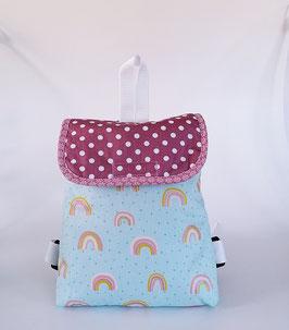 Kleinkinderrucksack Regenbogen -hellblau, personalisiert, Handmade