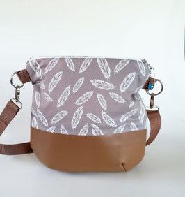 Umhängetasche Feder, Damentasche, Handmade