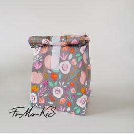 Romantisches Lunchbag mit Rosen aus beschichteter Baumwolle in grau-rosa, mit Lebensmittel geeignetem Innenfutter, Handmade