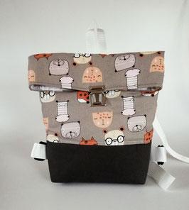 Rucksack, Kindergartentasche Katzen, Canvas, Handmade