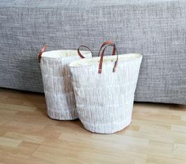 Aufbewahrungstasche Bambus, Utensilo, Badezimmer, Kinderzimmer, Wollkorb Canvas, Handmade