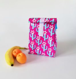 Lunchbag Kakten, laminierte Baumwolle pink-türkis, mit Lebensmittel geeignetem Innenfutter, Geschenk, Handmade
