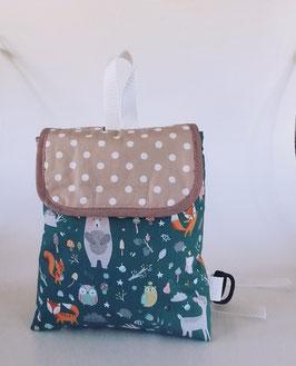 Kinderrucksack Waldtieren mit Namenskette//petrol-beige//Kindergartentasche