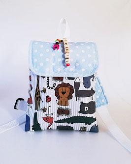 Kinderrucksack Zoo, Kindergartentasche, personalisiert, Handmade