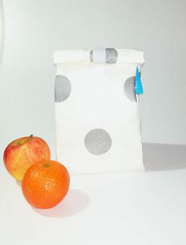 Lunchbag Silver, beschichtete Baumwolle mit Lebensmittel geeignetem Innenfutter, Handmade
