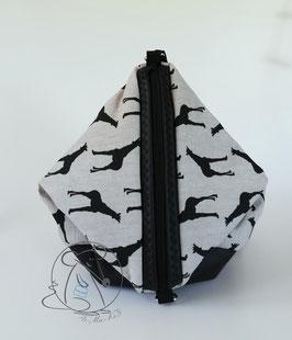 Schultertasche, Rucksack Sixta, beige-schwarzes Canvas, schwarzes Kunstleder, Handmade