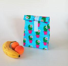 Lunchbag Kaktus, beschichtete Baumwolle türkis-pink, mit Lebensmittel geeignetem Innenfutter, Geschenk, Handmade