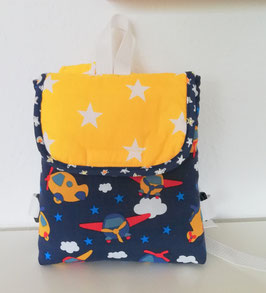 Kleinkinder Rucksack Baufahrzeuge, Baumwolle blau-gelb, Handmade