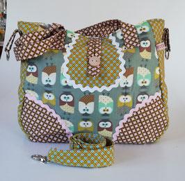 Damentasche Eulen, kleine Hand-und Schultertasche mit abnehmbarem Schultergurt, ein Unikat