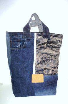 Shopper, Handtasche Rose, Jeans -Upcycling u. Mischgewebe, Handmade