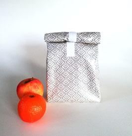 Lunchbag Vesper, beschichtete Baumwolle grau mit Lebensmittel geeignetem Innenfutter, Handmade