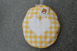 Traubenkernkissen Herz gelb - rund