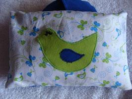 Traubenkernkissen Vogel grün