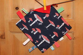 Knistertuch dunkelblau mit Fliegenpilzen - rot