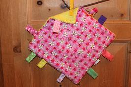 Knistertuch rosa mit Blumen - gelb