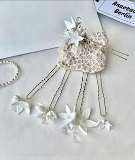 Fünf Porzellan Blüten Stecknadeln Jasmin