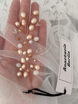 Süßwasser Perlen Zweig mit weisen Jade Edelstein Natti