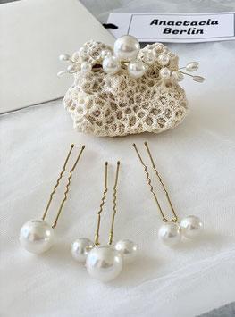 Vier Maxi Perlen Stecknadeln Bonny