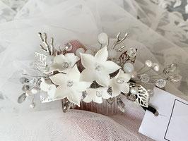 Süßwasser Perlen Porzellan Blüten Haarkamm Jasmine