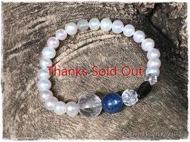 ★Bracelet ~Water Pearl / Lemurian Seed Crystal/ Kyanite / Moldavite / Libyan glass  / Crystal