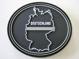 Klettpatch Deutschland thin grey line oval ca. 7 x 6 cm