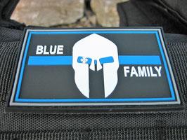 Klettpatch blue family thin blue line ca. 8 x 5 cm
