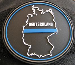 Klettpatch Deutschland thin blue line oval ca. 7 x 6 cm