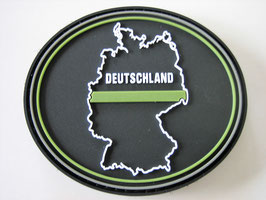 Klettpatch Deutschland thin green line oval ca. 7 x 6 cm
