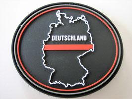 Klettpatch Deutschland thin red line oval ca. 7 x 6 cm