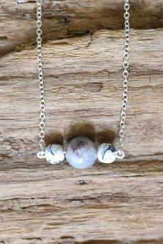 Silberkette Mineralperle