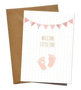 "KLAPPKARTE ""WELCOME BABY FEET ROSÉ"", ENGLISCH"