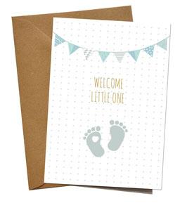 """KLAPPKARTE """"WELCOME BABY FEET BLAU"""", ENGLISCH"""
