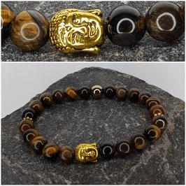 "PERLENARMBAND ""TIGERAUGE 2"" (goldener Buddha)"