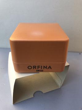 Gelbe Orfina Uhrenbox mit Umkarton aus den 70iger Jahren.