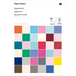 Paper Poetry Bastelkartonblock Super Colour A4 30 Blatt